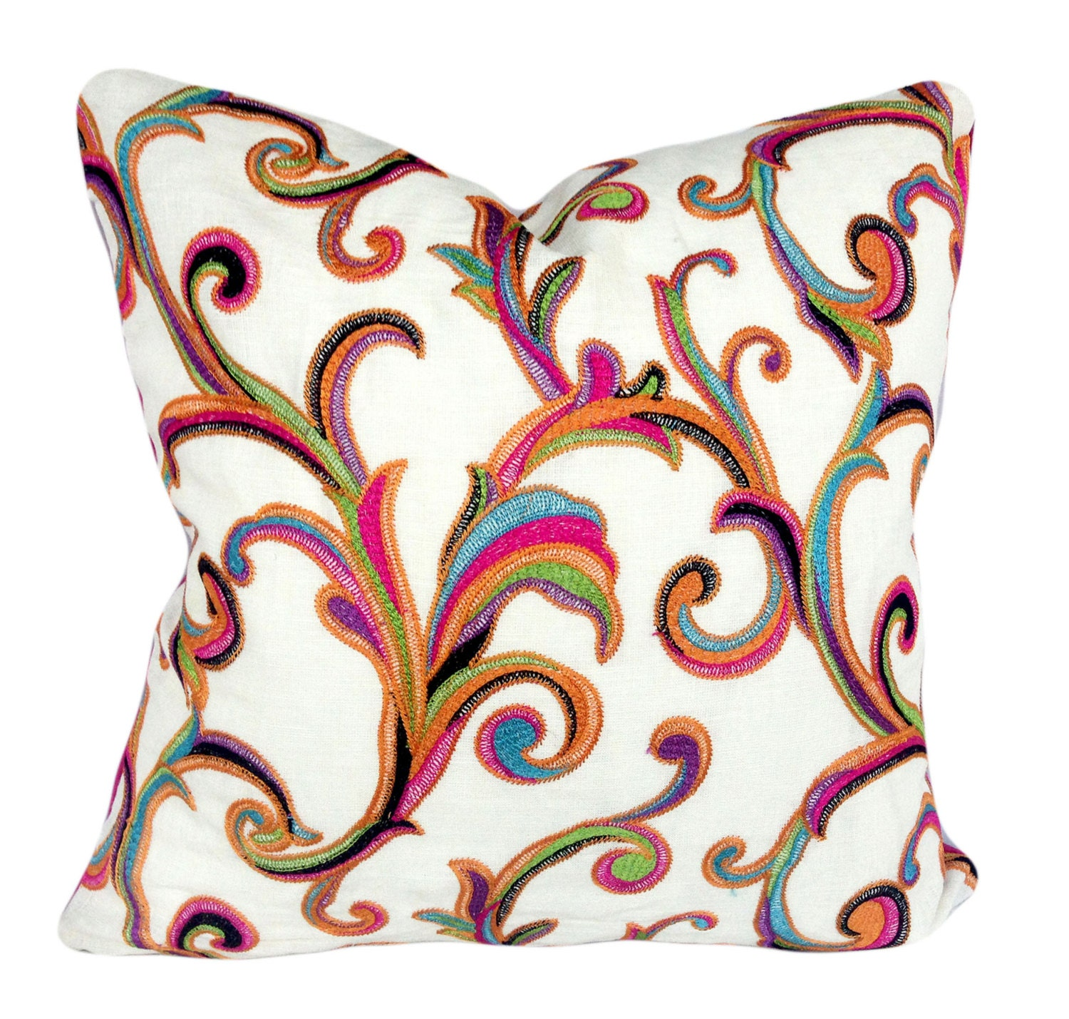 colorful floral scroll decorative pillow cover throw pillow. Black Bedroom Furniture Sets. Home Design Ideas