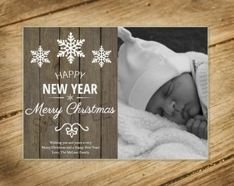 Wooden / Rustic / Neutral Christmas Card with Family Photo