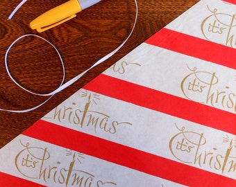 Vintage Gold Script It's Christmas With Red & White Candy Cane Stripes