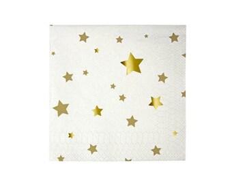 Toot Sweet Small Gold Star Napkins by Meri Meri, White & Metallic Gold Napkins Disposable Party Products, New Years Decor, birthday napkins
