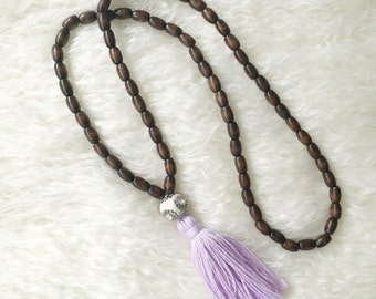 Purple tassel necklace - wooden beads - SALE of the month - just 1 necklace left