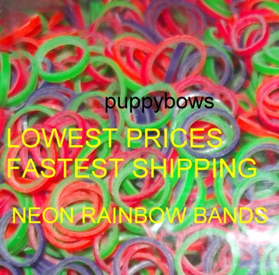 Puppy Bows ~ Latex Non Latex Neon CHICKEN leg bands CHICK craft Bands ~elastic band ~USA seller