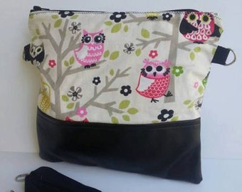 Owl Foldover Purse/Vegan Leather Bag/Foldover Crossbody Bag/Foldover Oversize Clutch/Women Foldover Bag/Foldover Vegan Leather Clutch