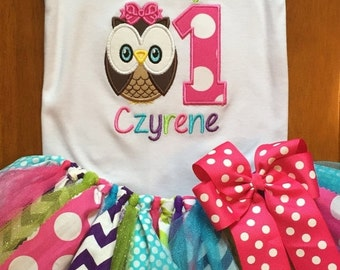 ON SALE Look Whoo's Turning Owl Birthday Tutu Outfit