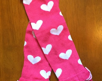 Hot pink and white hearts ruffle legwarmers