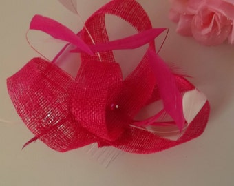 Cerise pink feather fascinator /pink wedding hat made in Scotland UK