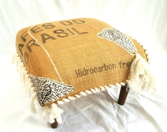 typography burlap ottoman with yarn fringe and handstitching