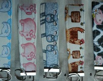 Farm Animals on ecru Key Fob, Key Chain, Wristlet, Camera Strap,Flash Drive Holder