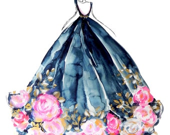 8x10 Rose Dress Indigo Fashion Watercolor Illustration