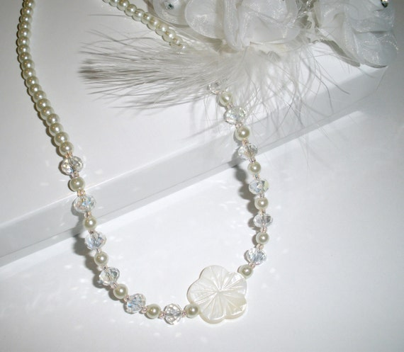 Tropical Flower Pearl Bride Necklace Wedding Jewelry Necklaces