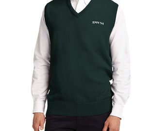 Men's Monogrammed V-Neck Sweater Vest