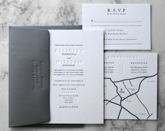 Letterpress Wedding Invitation Suite (Main Invite and Envelopes) (50 Pieces)
