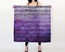 Purple Sheet Music Silk Scarf - Beautiful silk square scarf  -  notes, music gift, musician, scarves, lady's