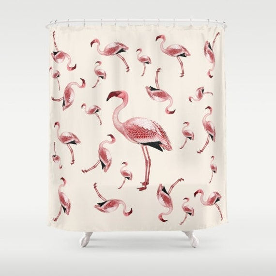 Items Similar To Pink Flamingo Shower Curtain Flamingo Party Retro Vintage Design Cute