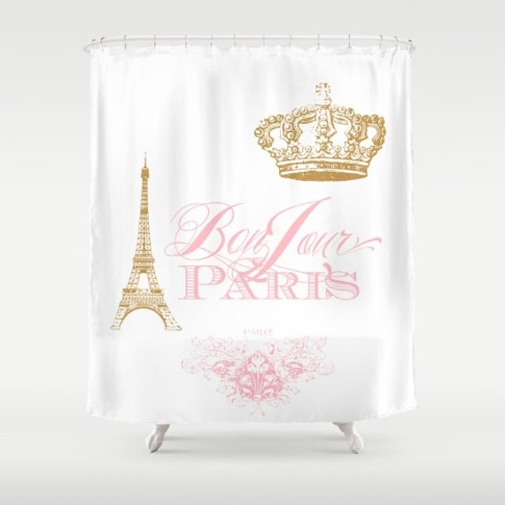 Items Similar To Paris Shower Curtain Pink Gold White Bonjour Chic Fre