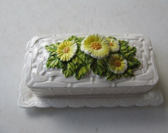 Vintage Yellow and Green Ceramic Butter Dish