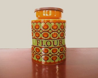 Hornsea Flour Storage Pot, Bronte Pattern, Retro Kitchen Decor, Flour Canister, Kitchen Storage from the 1970's