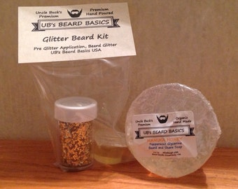 Glitter Beard Kit Double Beard Glitter with Peppermint Honey Beard Soap