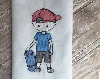 Skateboard Boy 2 Sketch Embroidery Design - skater Sketch Embroidery Design - boy Sketch Embroidery Design - skateboard Sketch Embroidery