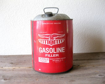 Vintage Eagle Gasoline 5 Gallon Advertising Gas Can Metal Fuel Red Old No. 1005 Garage Find Man Cave Decor