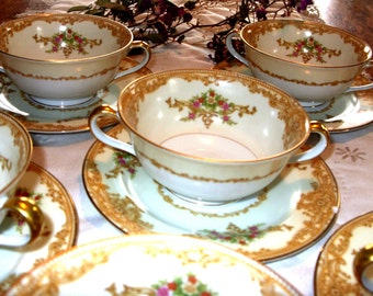 Noritake Soup Bowls Vintage Elegant Soup Bowls Set of 6 from the 1930's Gold Edged Dishes