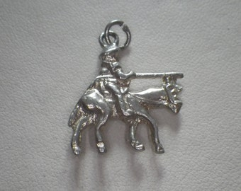 Vintage Sterling Silver Knight Solider Warrior on Horse Charm Pendant
