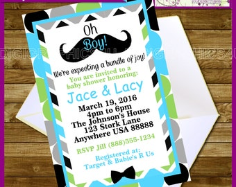 Moustache Themed Baby Boy Shower Printable Personalized Invitation Digital File