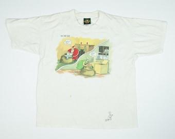 Christmas Far Side Tshirt Gary Larson Tshirt 90s Christmas Farside Shirt L Santa Claus Cartoon Tee Men's Large - Vintage Christmas T-Shirt L
