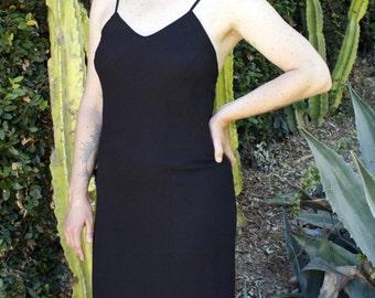 1990's Black Gown * Black Dress * LBD * Classic * Minimal * Formal * Special Occassion * Sheath * Size Medium