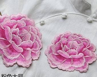 1pcs Lace Applique Pink Peony Floral Embroidery Applique Exquisite