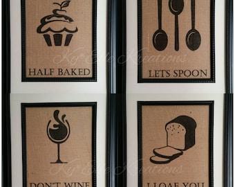 kitchen pun print set kitchen decor kitchen pun print burlap print bakery - Kitchen Wall Decor