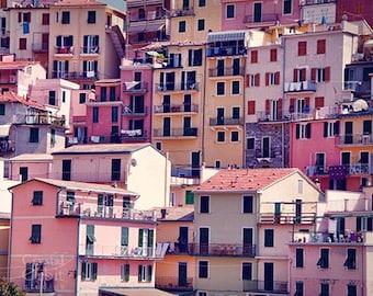 Italy Wall Art, Cinque Terre Print, Colorful Italian Houses, Bathroom Decor, Travel Photography, Pink, Gold, Manarola