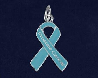 Prostate Cancer Light Blue Ribbon Charm (1 Charm - Retail) (RE-C-29-12PC)