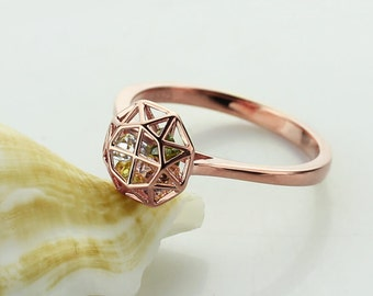 Personalized Cage Ring with Birthstones 18K Rose Gold Plated Silver Family Ring for Mother Birthstone Name Ring-4047