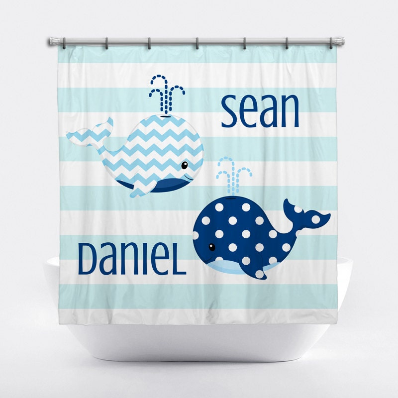 whale personalized shower curtain for boys blue whale shower