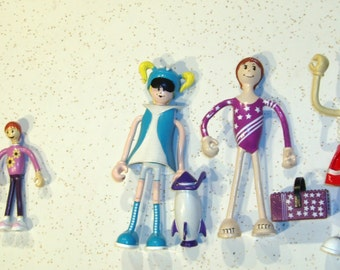 Bendos Action Figure Kid Galaxy Lot of 9 bendies,Dad Mom Baby Luna Star Dunkin +