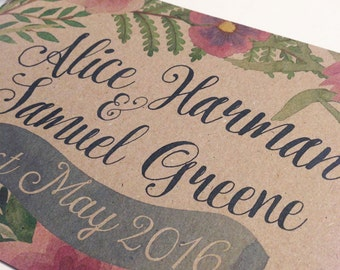 Rustic Country Vintage Floral Wedding Invitations - sample