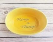 Ring Dish Yellow and Grey Decor Rings & Things READY TO SHIP