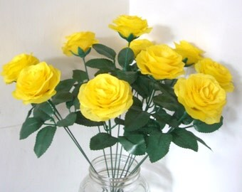 Silk Flowers,Yellow Silk Rose Bush Bouquet with 15.7'' Stems,Wedding Aisle decoration,Fake Artificial Fabric Rose,Wedding Flower Centerpiece