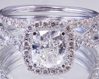 EGL USA H-VS2 18k White Gold Cushion Cut Diamond Engagement Ring And Band 2.50ct