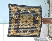 Vintage baroque shawl, Square Scarf, yellow black scarf, royal print scarf, baroque scarf, Versace style scarf, sheer and solid