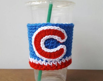 Chicago Cubs inspired crocheted coffee cozy. Drink cozy.