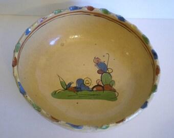 Vintage Tlaquepaque Mexican Pottery Large Bowl Kitsch Folk Art Rustic