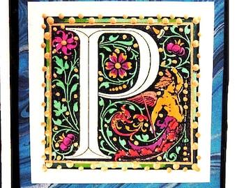 Hand Painted Alphabet Letter P