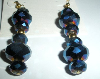 Austrian Crystal Dangle Earrings, Cobalt Blue