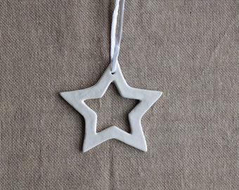 Raffia Tied Cut Out Clay Star Ornaments