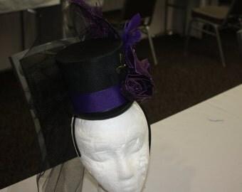Steampunk,Victorian,Civil War Mini Top Hat Fascinator