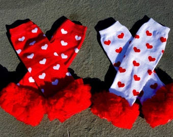 Red &White Heart Leg Warmers for infants,toddlers and adolescence/Heart Legwarmers with Tulle/Two Color Choices