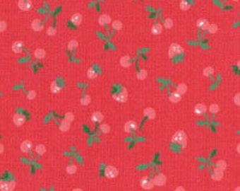 Old New 30's  - Tiny Strawberries & Cherries(Red Background) - Lecien - Japan, Inc
