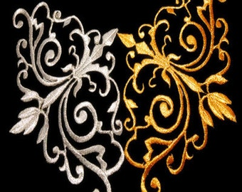 Gold Embroidered Applique Gold Metallic Iron On Patch 5*11cm 12* 16.5cm
